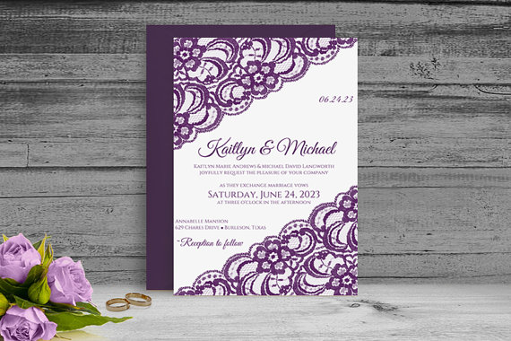 DiY Printable Wedding Invitation Template Download Instantly - Diy template wedding invitations