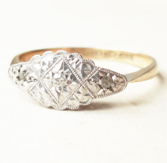 Art Deco Scalloped Platinum Cloud Framed Diamond Ring 9k Gold Amp Platinum Diamond Engagement