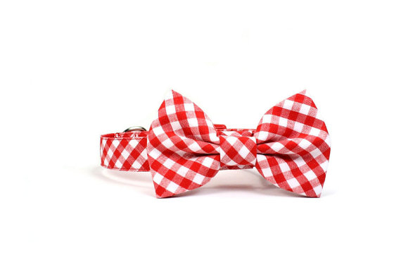 Mariage - Red Gingham Dog Collar Bow Tie Set Check Wedding Bowtie Adjustable