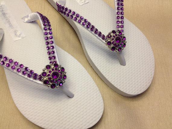 474ee419f4ae Bridesmaid Purple Bling White Flip Flops Wedding Bridal Rhinestone flip  flops Flower Girl Prom Beach Crystal Embellishment