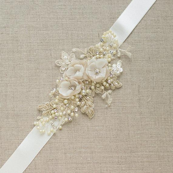 Champagne Bridal Belt Wedding Dress Sash Floral Belt Sash Narrow ...