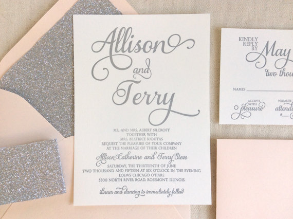 The Stargazer Suite Modern Letterpress Wedding Invitation Silver Glitter Blush Pink White Formal Elegant Calligraphy Script