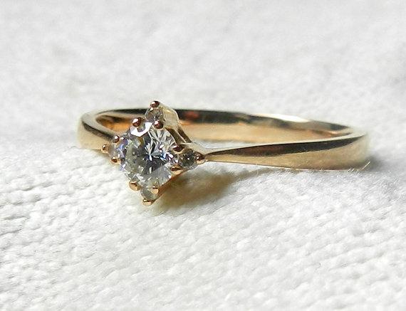 Hochzeit - Vintage Antique Engagement Ring, 18K Engagement Ring Diamond Ring Deco18K Rose Gold Ring
