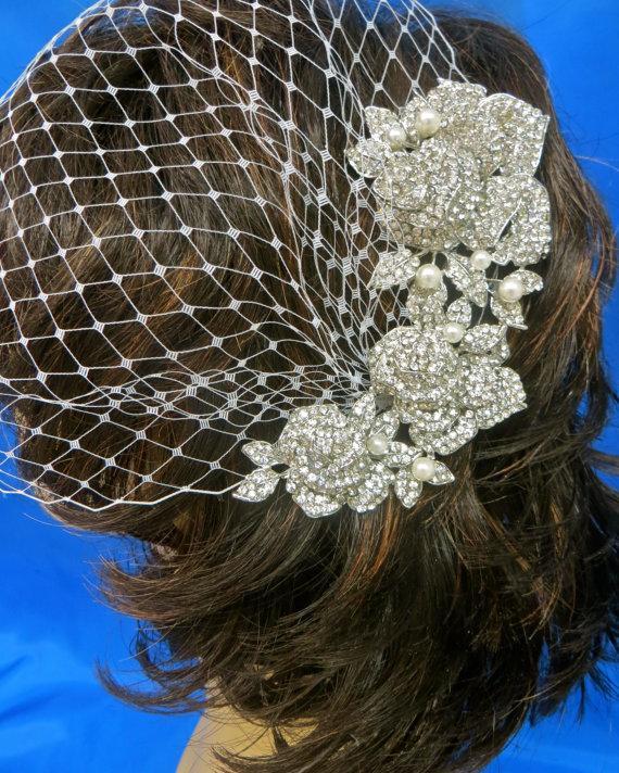 Mariage - Bandeau  Bridal Veil, Wedding Birdcage Veil, Bridal Blusher Veil, Rhinestone Pearl Veil