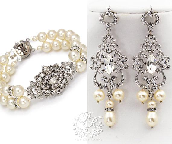 Wedding Bracelet Earrings Swarovski Pearl Rhinestone Bridal Jewelry Accessory Rhombus