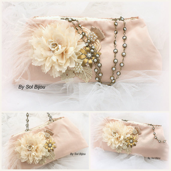 Mariage - Bridal Clutch Wedding Clutch Vintage Inspired Purse in Blush, Champagne, Tan, Gold and Ivory with Ostrich Feathers, Brooch and Pearls