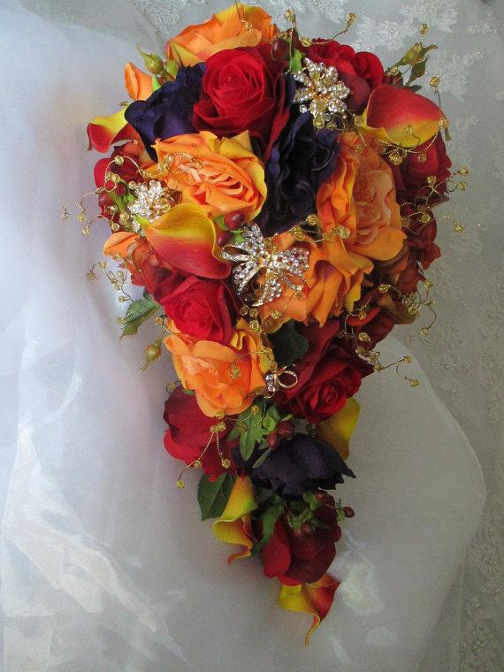 Mariage - Cascade Style Orange and Red Autumn Fall Rich  Romantic Bridal  Boutonniere  Wedding Bouquet Set