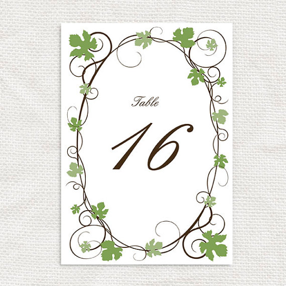 Mariage - grape vine printable table numbers - printable file
