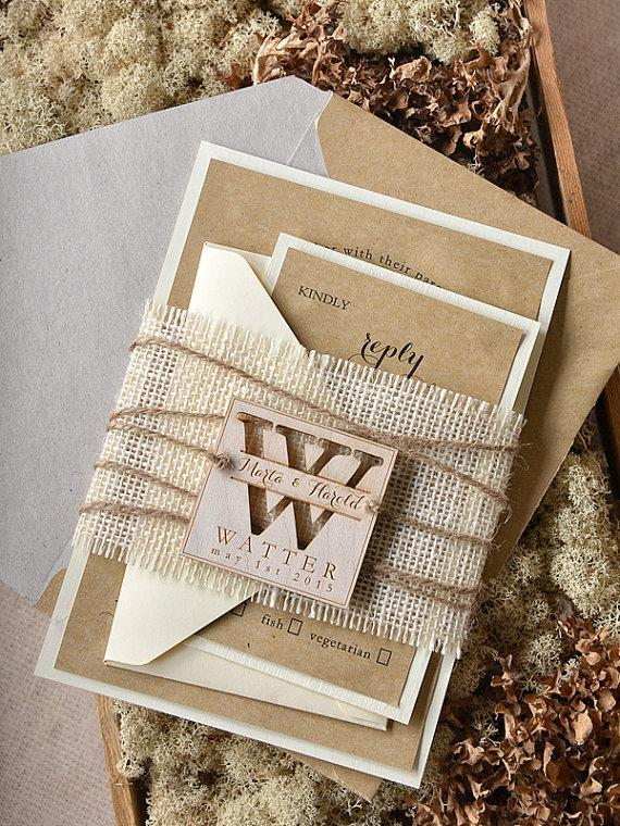 custom listing (20) rustic wedding invitation, burlap wedding, Wedding invitations