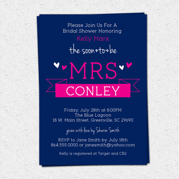 Hochzeit - Printable Bridal Shower Invitation Soon to be MRS Sweet Banner Pick Your Color, Custom, Personalized DIY Digital File