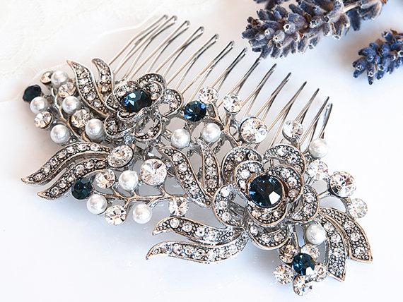 Hochzeit - Victorian Style Bridal Hair Accessories, BLUE Swarovski Crystal Wedding Hair Comb, Pearl and Rhinestone Rose Flower Hair Accessories, ROSIE