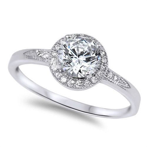 Свадьба - 925 Sterling Silver 2.50 Carat Round Russian Ice Diamond CZ Accent Halo Wedding Engagement Anniversary Ring