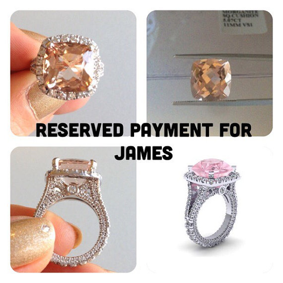 Wedding - RESERVED PAYMENT Morganite Ring Engagement Ring Platinum Custom Made 5.07ct Peach Pink Morganite and 2.00cttw FSI1 Round Diamonds