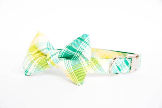 Mariage - Plaid Bowtie Dog Collar - Green and Blue Summer Tartan