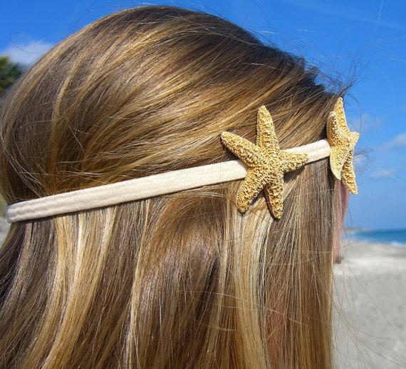 Mariage - Starfish Headband with Two Sugar Starfish-Tan-Hippy Chic, Beach Hair, Mermaid Hair, Boho Coastal, Jersey Shore, Nautical, Beach Weddings