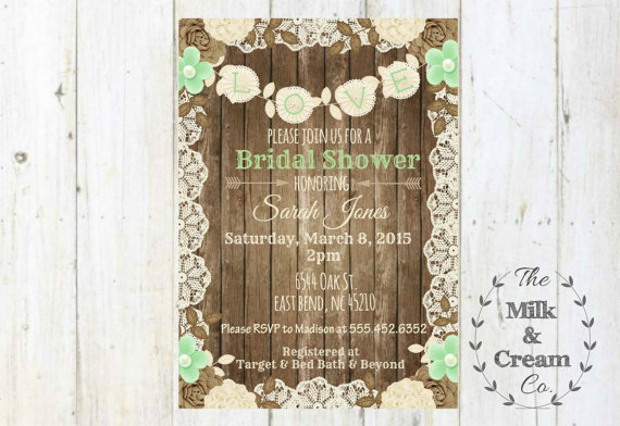 Свадьба - Shabby Chic Rustic Mint Green Bridal Shower Invite,  Invitation with Flowers, Simple Casual, Digital File, Rustic Wood Wedding