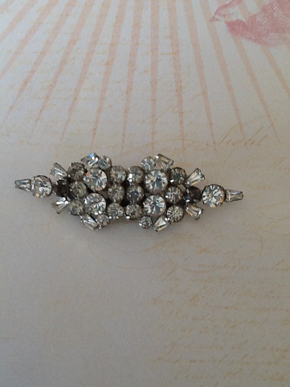 Mariage - Duette Convertible Dress Clips Art Deco 1930s Rhinestone Brooch or Shoe and Dress Clips wedding Great Gatsby