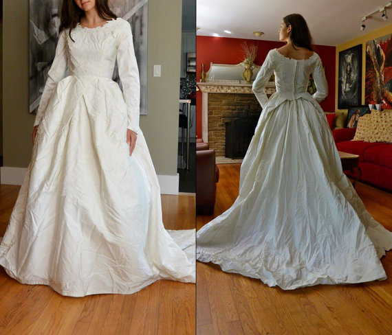 Vintage Wedding Dress Xs: Vintage 60s Wedding Dress / 1960s White Bridal Gown Full