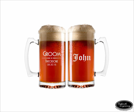 Mariage - TWO Custom Beer Mugs, SHIPS FAST, Custom Engraved Beer Mugs, Personalized Beer Glasses, Groomsmen Gift Glasses, Will You Be My Groomsman
