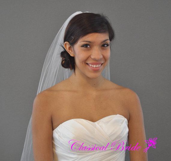 Wedding - PLAIN ELBOW VEIL 30 Inch 1 Tier in White, Diamond White, or Ivory Tulle, custom handmade bridal wedding veil
