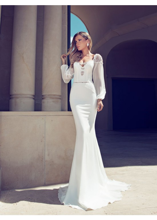 Hot Mild Feminine Long Sleeves Chiffon Wedding Dresses