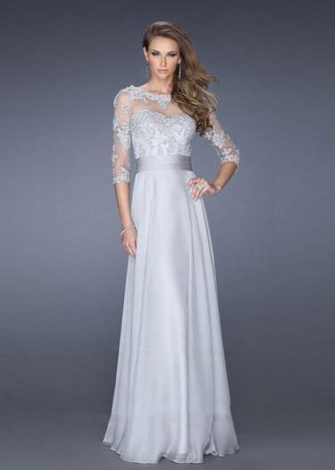 Wedding - Fashion Cheap 2015 Gray Sheer High Illusion Neck Lace Half Sleeves Prom Dress