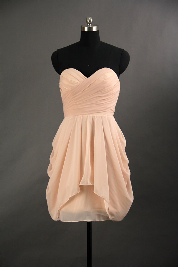 Chiffon Bridesmaid Dress A Line Short Peach Blush