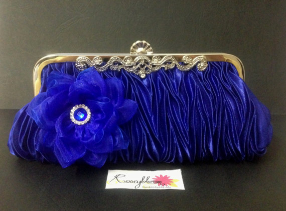 Свадьба - Bridal Clutch-Bride Clutch-Wedding Clutch-Cobalt Blue Clutch-Blue Handbag-Flower Clutch-Flower Hand Bag-Lotus Organza Flower Bridal Clutch