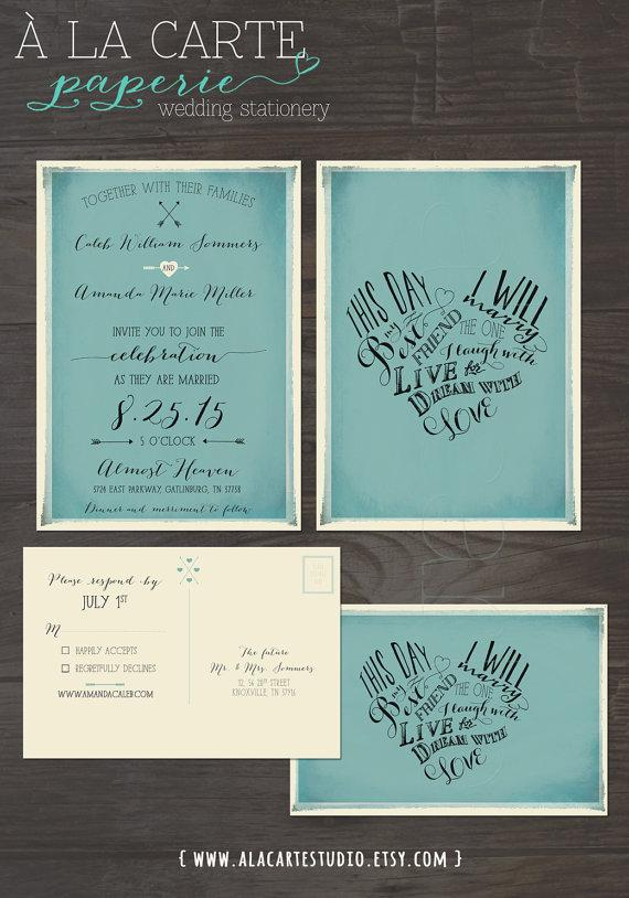 Wedding - This day I will marry my best friend -Vintage Blue Wedding Invitation Card and RSVP postcard