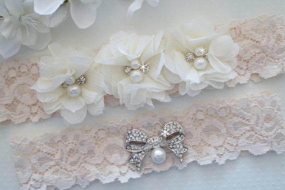 Wedding - MILA Style -Wedding Garter Set, Ivory Lace Garter, Ivory Garter, Flower Garter Set