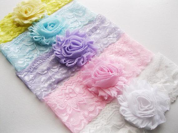 Hochzeit - Set of 5 - Shabby Flower Lace Headband - Newborn Headband Set - Baby Girl Turban - Photography Prop - Pink White Lavender Blue Yellow