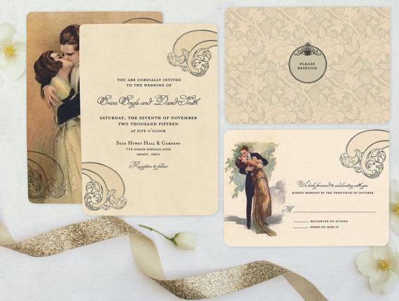 1920s Wedding Invitation Vintage Style Wedding Romantic Wedding