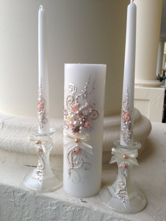 Mariage - Beautiful wedding unity candle set in ivory, champagne and blush pink, perfect set for your unity ceremony