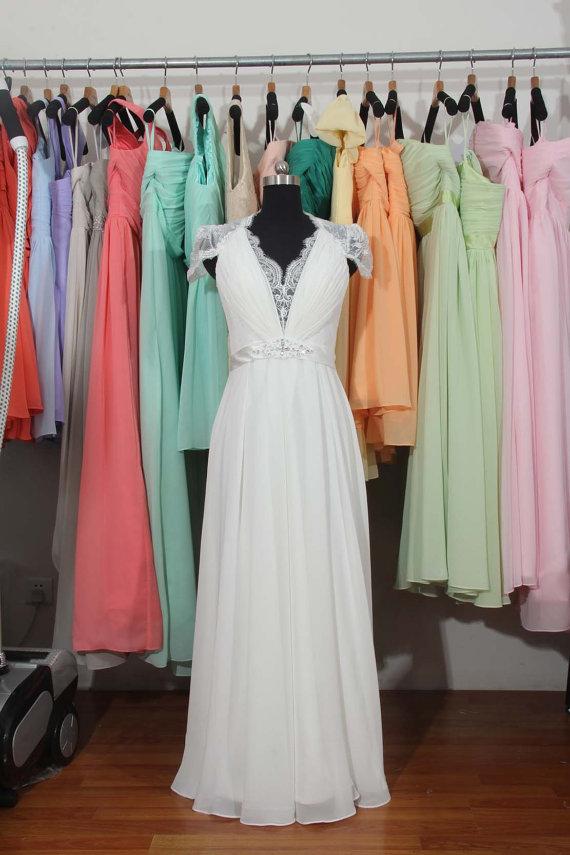 Mariage - Beach Wedding Dress, Cap Sleeves Lace Chiffon Wedding Dress, V-neck See Through Back Bridal Wedding Dress