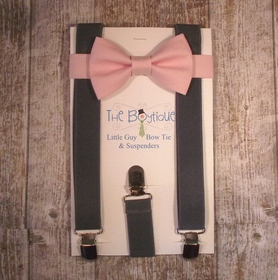 Hochzeit - Blush Bow Tie and Charcoal Grey Suspenders, Toddler Suspenders, Baby Suspenders, Ring Bearer, Pale Pink, Soft Pink, Light Pink
