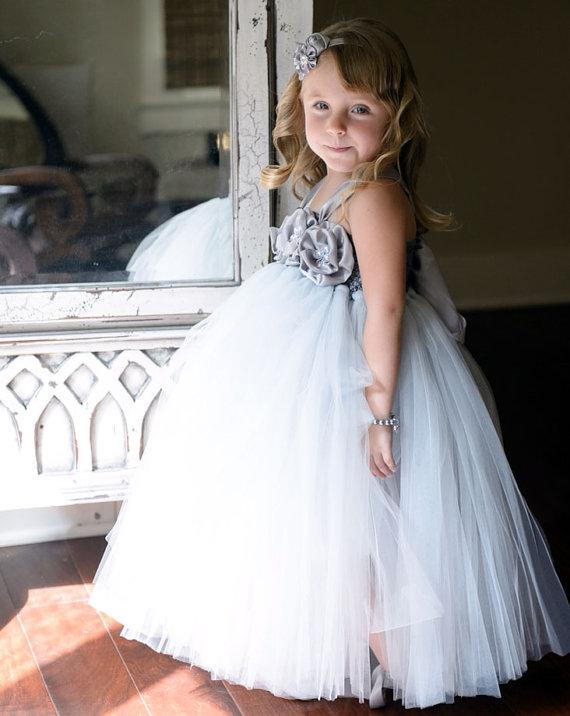 Flower Girl Dress Grey Ivory Tutu Dress Baby Dress Toddler Birthday