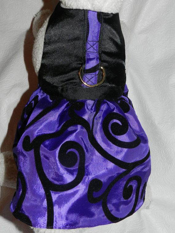 Свадьба - Purple Black Scroll Harness Dress, Perfect for Christmas, Holidays and Wedding Bridal Party. Custom made for your Cat, Dog or Ferret.