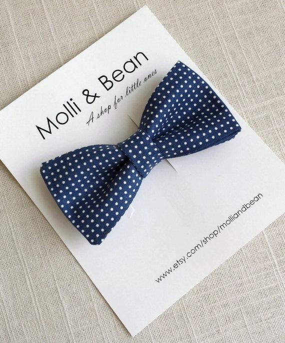زفاف - The Ralph  - Baby, Newborn, Toddler, Kids, Boys bow tie, Wedding bow tie, Ring bearer bow tie, Navy bow tie, Polka dot tie, Easter bow tie