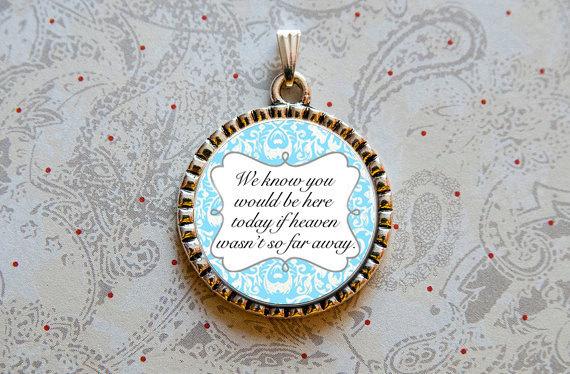 Свадьба - Wedding Bouquet Charm, Memorial Charm, Something Blue, Heaven Quote