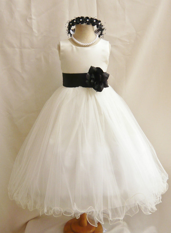 Flower girl dresses ivory with black fd0fl wedding easter flower girl dresses ivory with black fd0fl wedding easter junior bridesmaid for children toddler kids teen girls mightylinksfo