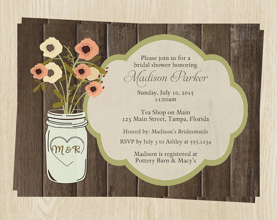 country mason jar bridal shower invitations wedding flowers set, invitation samples