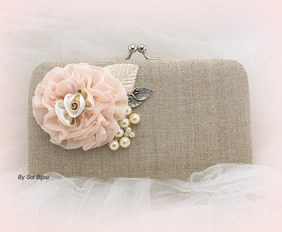 Mariage - Linen Clutch, Bridesmaids Clutches, Shabby Chic Rustic Wedding in Ivory, Silver and Blush with Linen, Chiffon and Pearls- Vintage Inspired