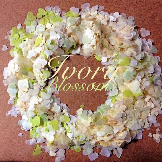 Mariage - Cream Ivory Wedding Heart Confetti Mix Biodegradable Tissue Confetti (25 Handfuls)