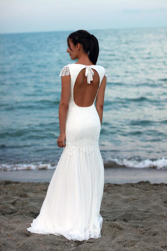Mariage - Bohemian Wedding Dress, Beach Wedding Dress, Lace Wedding Dress, Silk Ciffon Gown