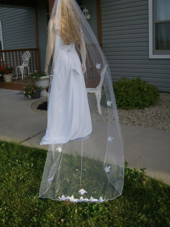"""Mariage - SALE  Ivory Wedding Veil - Cathedral 105"""" length, 54"""" wide."""