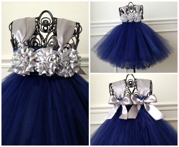 Mariage - Navy Flower Girl Dress