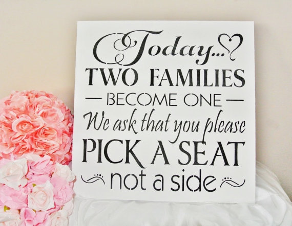 """Свадьба - XL LARGE Wedding Sign 18"""" Today Two Families Become One Pick a Seat not a side any color custom made wood sign seating plan black white"""