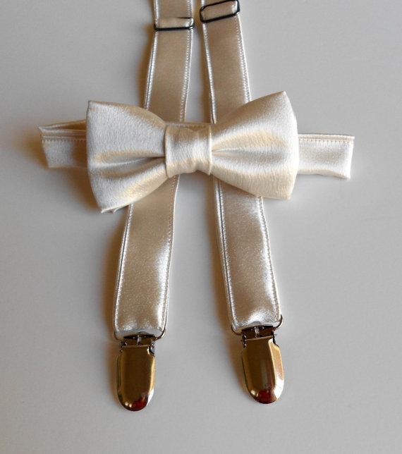 زفاف - Satin Champagne Bowtie and Suspenders Set- Infant, Toddler, Boy   Ivory