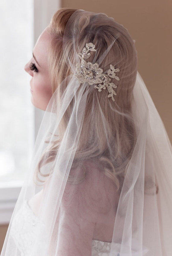 Hochzeit - Gold or Silver Lace Juliet Bridal Cap Wedding Veil, Alencon Lace with Pearls, Sequins, Waltz, Cathedral, Style: Rosa Gold/Silver #1109