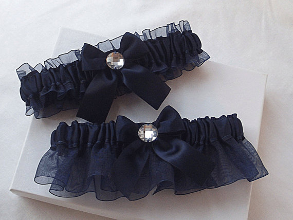 Свадьба - Wedding Garter Set - Navy Blue Garters with Rhinestones